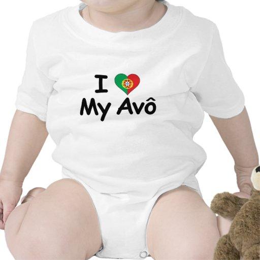 I Love My Avo (Grandfather) Baby Bodysuits