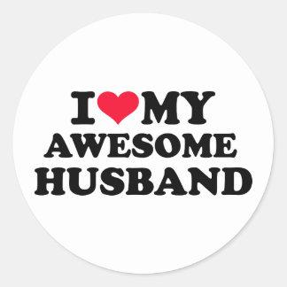 I love my awesome husband classic round sticker