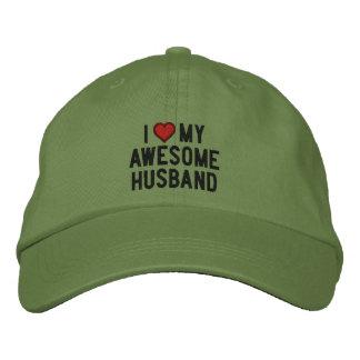 I love my awesome husband embroidered baseball cap