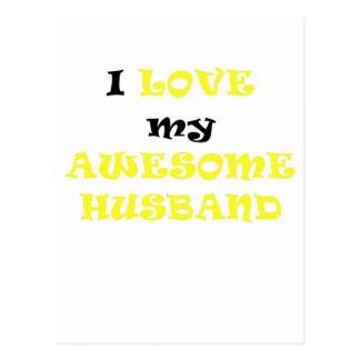 I Love my Awesome Husband Postcard