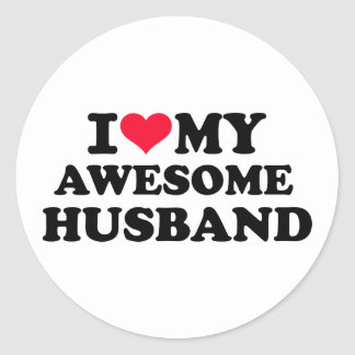 I love my awesome husband round stickers