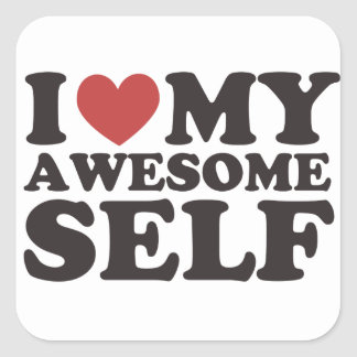 I Love My Awesome Self Square Sticker