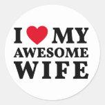 I love my awesome wife classic round sticker