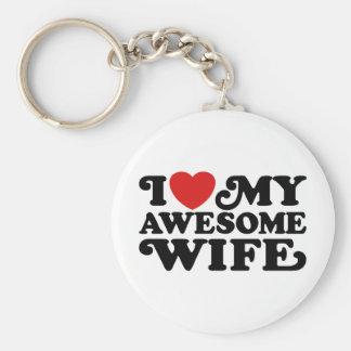 I Love My Awesome Wife Keychain