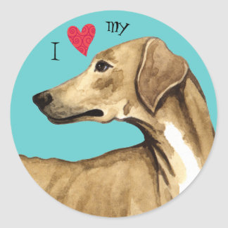 I Love my Azawakh Classic Round Sticker