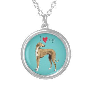 I Love my Azawakh Round Pendant Necklace