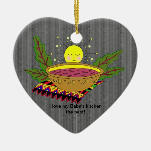 I Love My Baba's Kitchen Double-Sided Heart Ceramic Christmas Ornament