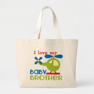 I love my baby brother large tote bag