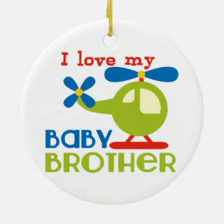 I love my baby brother Double-Sided ceramic round christmas ornament