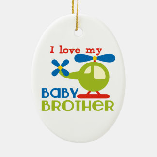 I love my baby brother Double-Sided oval ceramic christmas ornament