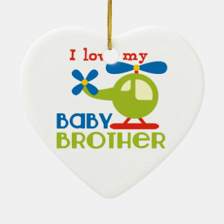 I love my baby brother Double-Sided heart ceramic christmas ornament
