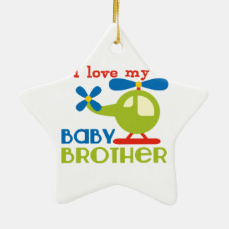 I love my baby brother Double-Sided star ceramic christmas ornament