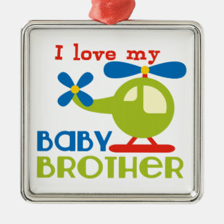 I love my baby brother square metal christmas ornament