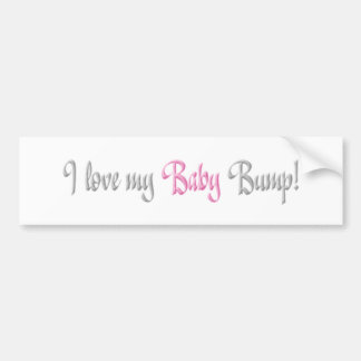 i love my baby bump - pink car bumper sticker