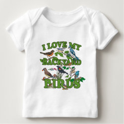 Baby Fine Jersey T-Shirt with I Love My Backyard Birds design