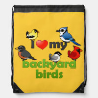 I Love My Backyard Birds Basic Nylon Drawstring Backpack
