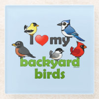 I Love My Backyard Birds Glass Coaster