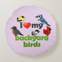 I Love My Backyard Birds Round Throw Pillow (16
