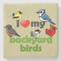 I Love My Backyard Birds Limestone Coaster