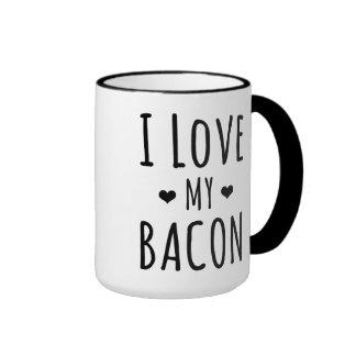 I Love My Bacon Ringer Mug