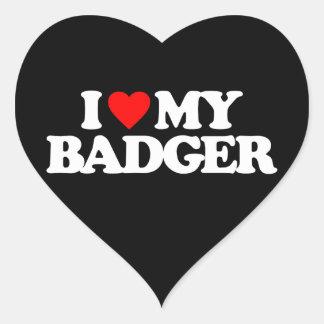 I LOVE MY BADGER HEART STICKER