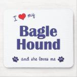 I Love My Bagle Hound (Female Dog) Mousepad