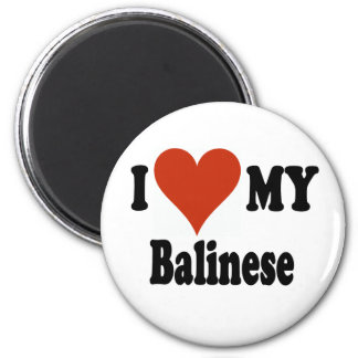 I Love My Balinese Cat Merchandise 2 Inch Round Magnet