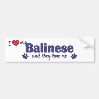 I Love My Balinese (Multiple Cats) Car Bumper Sticker