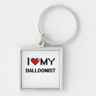 I love my Balloonist Silver-Colored Square Keychain