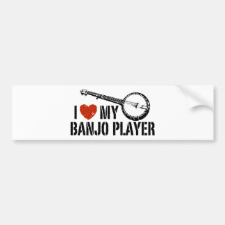 I Love My Banjo Player Bumper Sticker