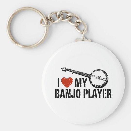 I Love My Banjo Player Keychain