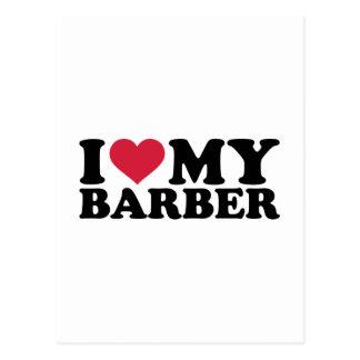 I love my barber postcard