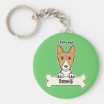 I Love My Basenji Key Chain