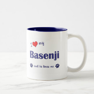 I Love My Basenji (Male Dog) Two-Tone Coffee Mug