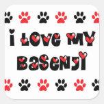 I Love My Basenji Square Stickers