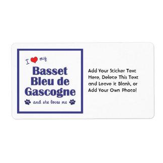 I Love My Basset Bleu de Gascogne (Female Dog) Custom Shipping Label