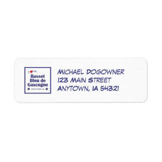 I Love My Basset Bleu de Gascogne (Male Dog) Custom Return Address Label