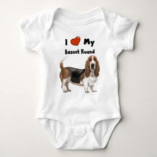 I Love My Basset Hound Baby Bodysuit