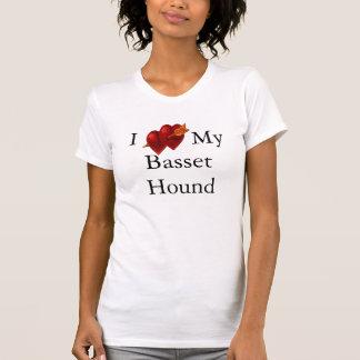 I Love My Basset Hound Double Heart Shirt