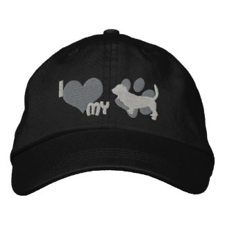 I Love my Basset Hound Embroidered Hat (Gray)