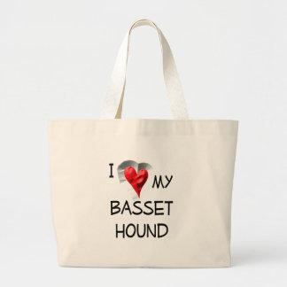 I Love My Basset Hound Large Tote Bag