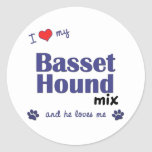I Love My Basset Hound Mix (Male Dog) Classic Round Sticker