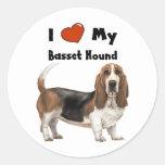 I Love My Basset Hound Stickers