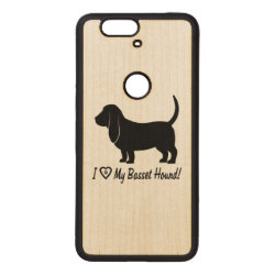I Love My Basset Hound with Paw Prints Wood Nexus 6P Case