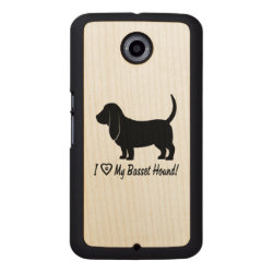 I Love My Basset Hound with Paw Prints Wood Phone Case