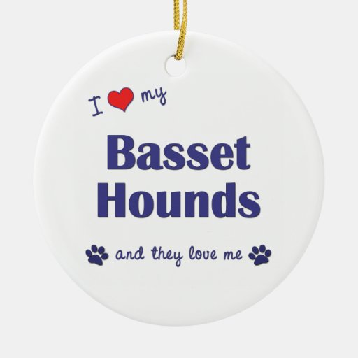 I Love My Basset Hounds (Multiple Dogs) Double-Sided Ceramic Round Christmas Ornament