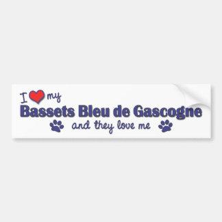 I Love My Bassets Bleu de Gascogne (Multiple Dogs) Bumper Sticker