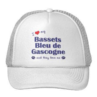 I Love My Bassets Bleu de Gascogne (Multiple Dogs) Hats