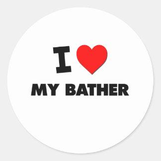 I love My Bather Classic Round Sticker