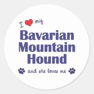 I Love My Bavarian Mountain Hound (Female Dog) Classic Round Sticker